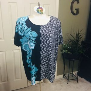 Chico's Black Gray Teal Tunic Size XL (Chico's 3)